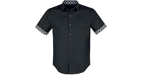 Doomsday Checkered Hombre Camisa Manga Corta Negro, Regular: Amazon.es: Ropa y accesorios