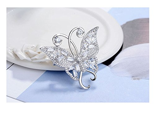 (Whiteswallow Butterfly Silver Brooch Pins Vintage Rhinestone Jewelry for Women)