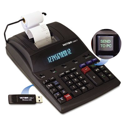 Victor 1280-7 Two-Color Printing Calculator w/USB, Black/Red Print by Victor