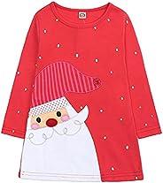 Xumplo Baby Girl Christmas Dresses Santa Prints Cotton Long Sleeve Red Girls Dress for Newborn Baby Toddler