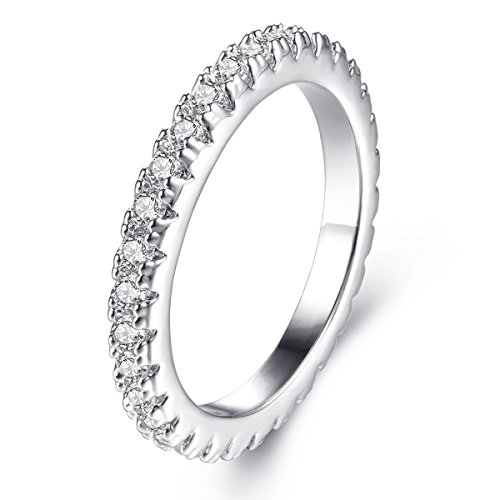 Jiangyue Lady Rings AAA Cubic Zirconia Rhodium Plated Stacking Wide Band Dainty Trendy Ring PartyJewelry Size 8