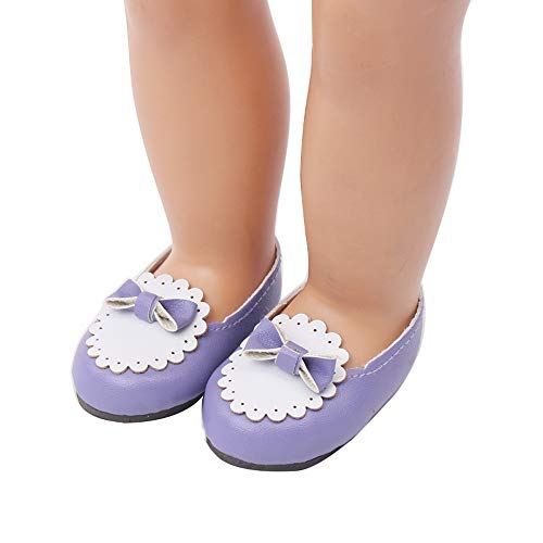 Wensltd Clearance! Doll Shoes with Cute Bow for 18 Inch American Girl Doll Accessory Girl's Toy (Purple)