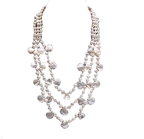 Drop Necklace Pearl Cultured Triple - JYX Pearl Triple Strand Necklace White Freshwater Cultured Pearl and Seashell Chunky Necklace