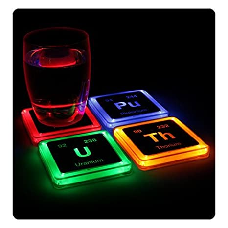 Amazon Thinkgeek Radioactive Elements Glowing Coaster Set