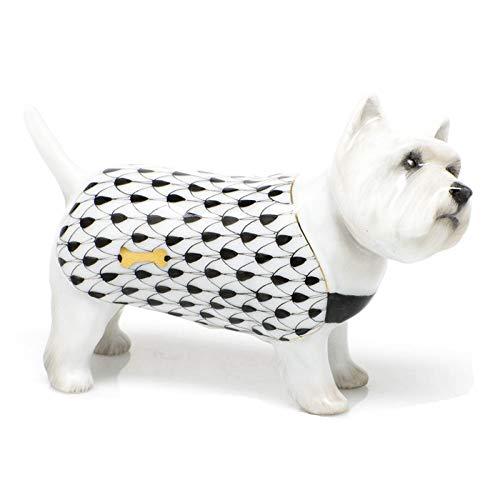 Herend West Highland Terrier Puppy Dog Porcelain Figurine Black Fishnet
