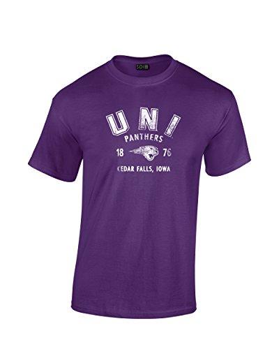 NCAA Northern Iowa Panthers Unisex NCAA 100% Pre-Shrunk Short sleeve, Purple, La LARGE