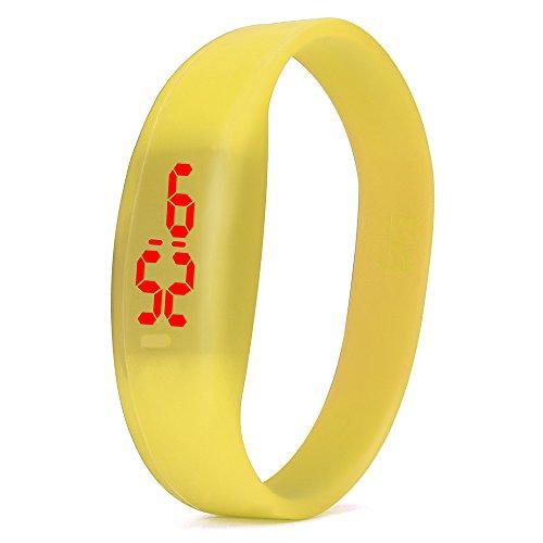 Fxbar,Simple Fashion igital LED Sports Watch Unisex Silicone Band Smartwatch Outdoor Bracelet Watches(Yellow)