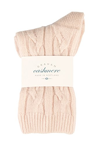 Graham Cashmere Women's Pure Cashmere Cable Bed Socks Gift Boxed One Size Pink