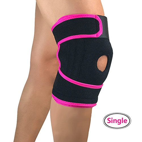 Knee Brace, 1PC Compression Open-Patella Stabilizer Breathable Knee Sleeve with Adjustable Strap Knee Support for Sports, Running for Men & Women Sport Protection - Single Wrap (Free Size, Pink)