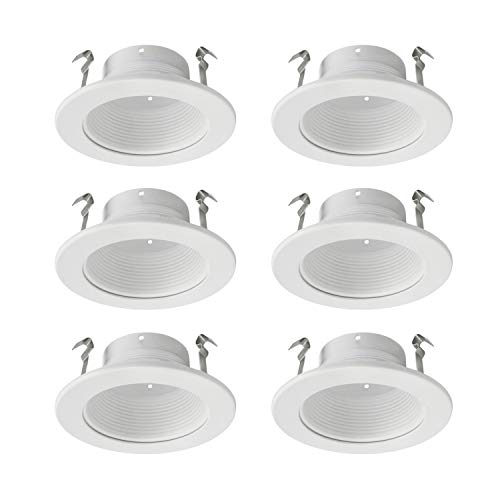 (JULLISON 4 Inch Recessed Housing Trim with White Step Baffle for PAR16, PAR20 and BR20, Fits Regular/Standard 4 Inch Recessed Housing Can - White - 6 Packs ...)