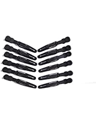 Mosher Salon Tools Rubber Coated No-slip Grip Croc Hair Styling Clips Black12 Pack