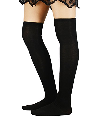 Zando Women Cotton Thin Stripes Tube Thigh High Tights Over Knee Stocking Socks D Black