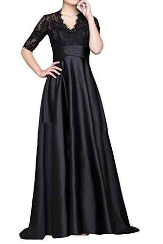 Abendkleider mit V Ausschnitt Kurzarm Festlichkleider Charmant Dunkel Formalkleider Brautmutterkleider Damen Schwarz Blau HnCwFqR1