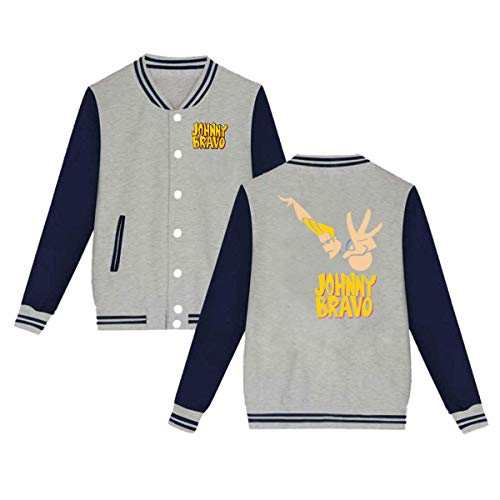 Baseball Uniform Jacket Sport Coat, Jonny Handsome and Clumsy Bravo Cotton Sweater for Women Men Boy Girls Gray ()