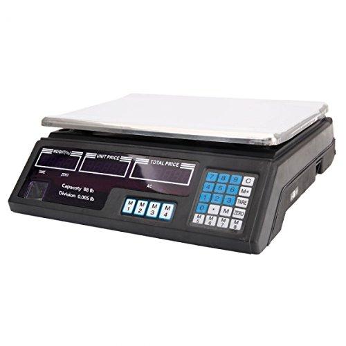 88Lbs/0.17Oz(40kg/5g) Digital Price Computing Scale for Vegetable US Plug Silver & Black
