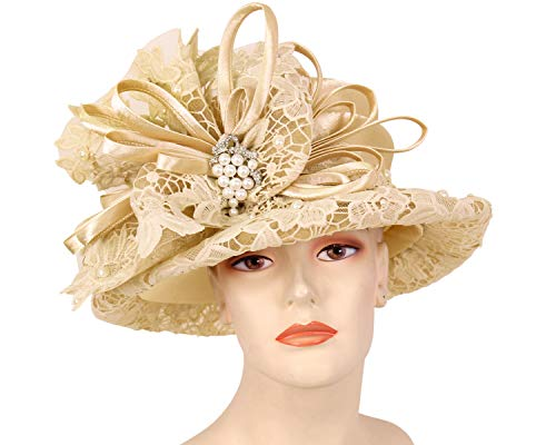 f6a1ffb7761ca Ms. Divine Collection Women s Satin Lace Church Derby Hats - H705 Beige