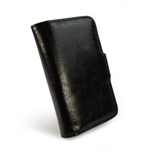 """Tuff-Luv """"Vintage"""" Ledertasche für Apple iPhone 5 / 5s / SE (inkl. Displayschutz) - Geldbörse Stil - schwarz"""