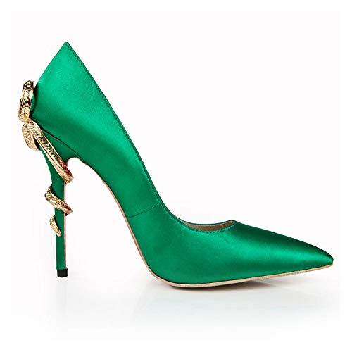 à Green pour à Pointus Chaussures Talons Pointus Bouts Femmes wzq7nC