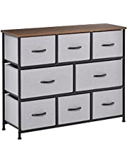 HOMCOM 8-Drawer Dresser, 3-Tier Fabric Chest of Drawers, Storage Tower Organizer Unit with Steel Frame Wooden Top for Bedroom, Hallway, Grey