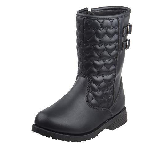 Rugged Bear Girls Fashion Winter Boots, Black, 2 M US Little Kid