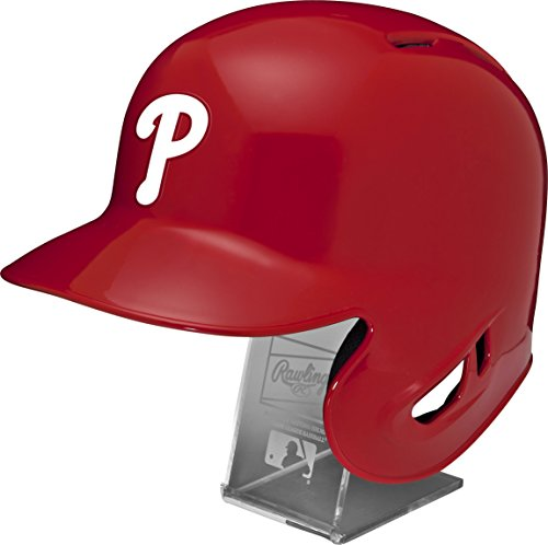 - Rawlings MLB Philadelphia Phillies Replica Batting Helmet with Engraved Stand, Official Size, Red