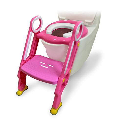 [FDA Certified] Ostrich Toilet Step Trainer Ladder for Kid and Baby, Children's Toilet Seat Chair, Toddlers Toilet Training Step Stool for Girl and Boy (Pink)