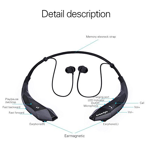 esonstyle bluetooth 4 0 around the neck wireless stereo headset headphone new ebay. Black Bedroom Furniture Sets. Home Design Ideas
