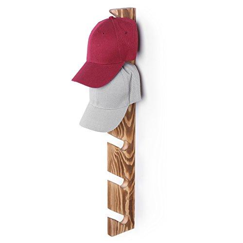 MyGift Burnt Wood Wall Mounted 6-Slot Baseball Cap Display Rack