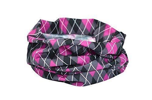 ARGYLE ROSA/SCHWARZ/GRAU - RUFFNEK ® Multifunktionale Kopfbedeckung Kragen