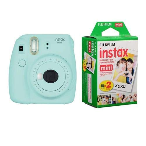 Fujifilm Instax Mini 9 (Ice Blue) Instant Camera with Mini Film Twin Pack (Renewed)