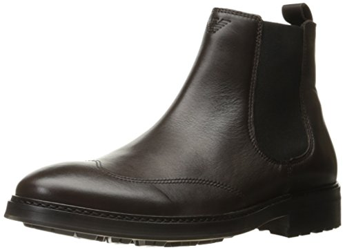 ARMANI JEANS Mens Leather Chelsea Boot Brown After Dark