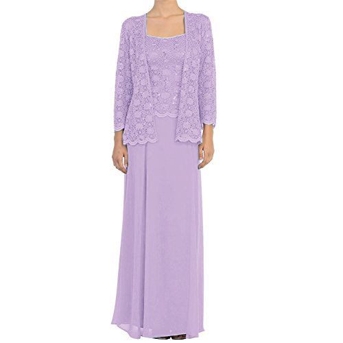 H.S.D Mother of The Bride Dress Chiffon Long Formal Gowns with Jacket Lavender