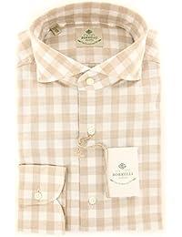 New Borrelli Light Brown Check Extra Slim Shirt