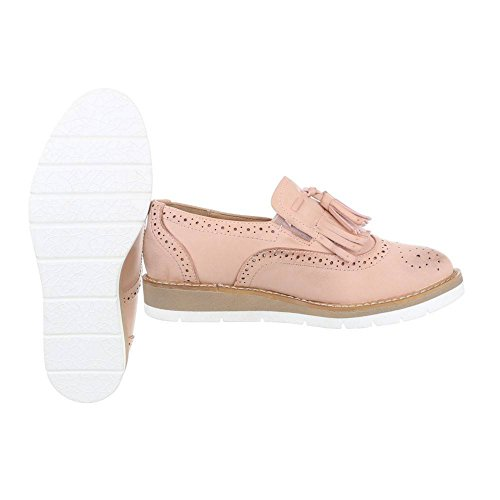 King Of Shoes Damen Slippers Loafers Halbschuhe Brogues Fransen Dandy Plateau Schuhe Quasten Keilabsatz 377 Pink