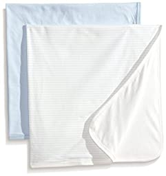 Rosie Pope Baby-Boys Newborn 2-Pack Blanket, Blue, One Size