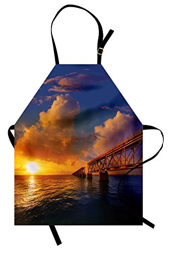 Ambesonne Landscape Apron, Florida Keys Old Bridge Sunset at Bahia Honda Park USA Cloudscape Picture Print, Unisex Kitchen Bib Apron with Adjustable Neck for Cooking Baking Gardening, Orange Blue