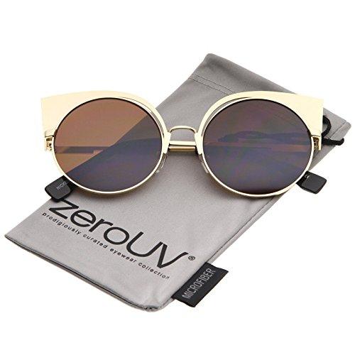 Women's Metal Frame Cutout Round Cat Eye Sunglasses 54mm (Gold/Brown) - Gold Cats Eye