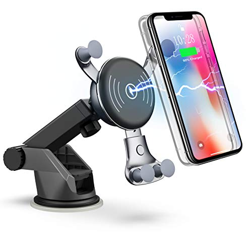 Dashboard Windshield Car Mount 7 5w Compatible For Iphone Xs Max Xs Xr X 8 8 Plus 7 5w 10w Wireless Car Charger Cell Phone Holder 10w Compatible For Samsung Galaxy S9 S9 S8 S8 Note 8 Cell Phones