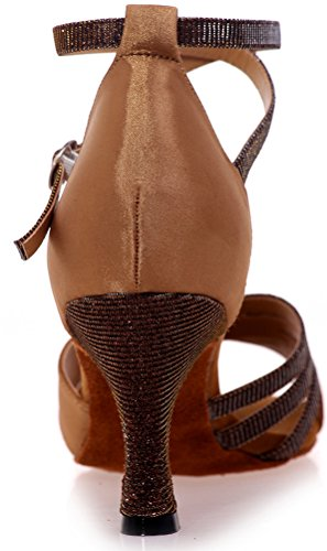 Ballroom 3IN Ankle Beginner Toe Swing Nice Peep Cha Latin Dance Comfort Straps Wedding Practice Sudue Salsa Sole Satin Tango Cha Shoes Party Find Brown Womens qOIHwIU