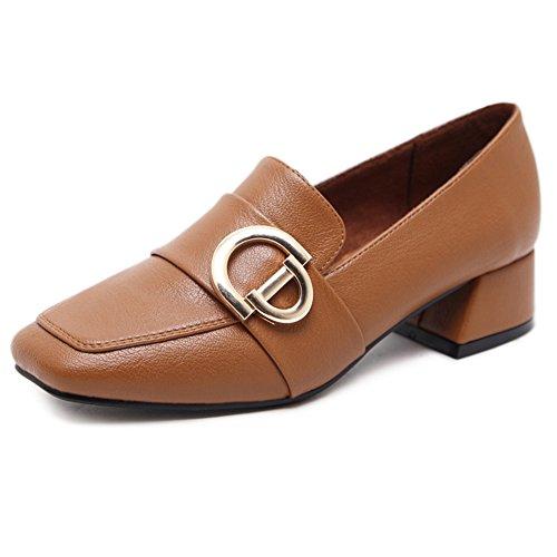 T-juli Metalen Gesp Casual Instappers Ademend Zachte Bodem Mode Loafer Schoenen Voor Dames Bruin