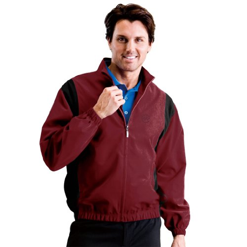 Monterey Club Mens Microfiber Peach Twill Contrast Inset Zip up Jacket #1788 (Caledonia Red/Black, X-Large) ()