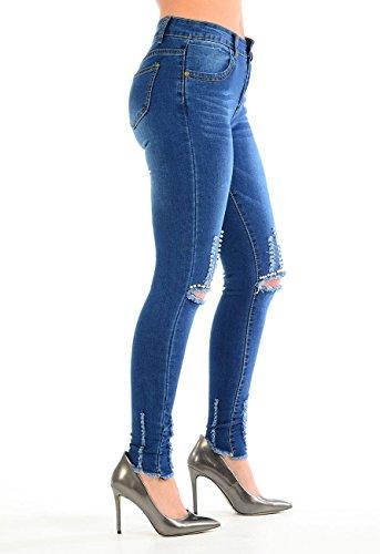 Denim Fashions amp;Ayat Knee para mujer Momo Vaqueros Cut Bead qgwFXzBBn