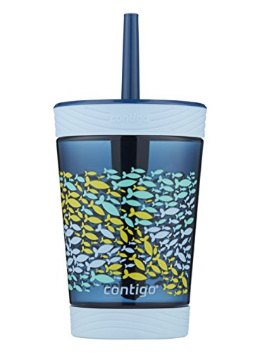 Contigo Spill-Proof Kids Tritan Straw Tumbler, 14 oz, Nautical Blue