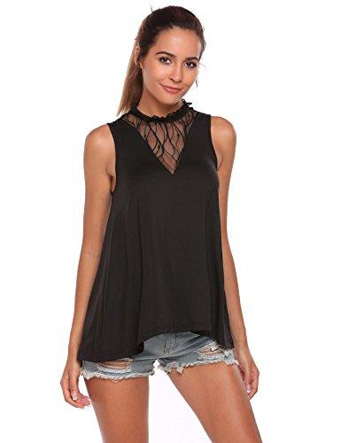 Zeagoo Girls Loose Mesh Plunge Blouse A Line Swing Basic Sleeveless Long Tunic Top Black S