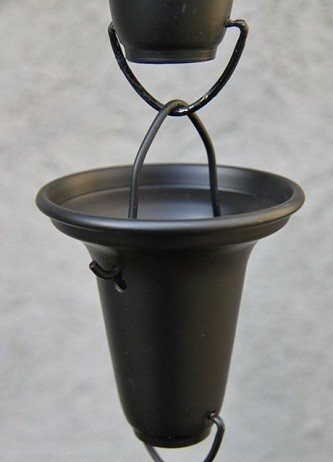 Black Flared Cups Aluminum Rain Chain with Installation Kit (10 Foot)