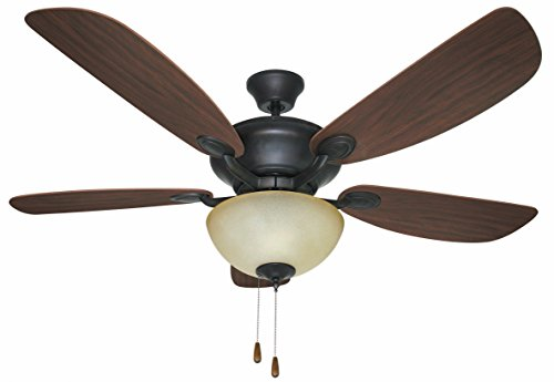 Litex E-VN52ABZ5C1 Viento 52-Inch Ceiling Fan with Five Reversible Eurasian Wood/Golden Maple Blades and Single Light Kit with Teastain Glass