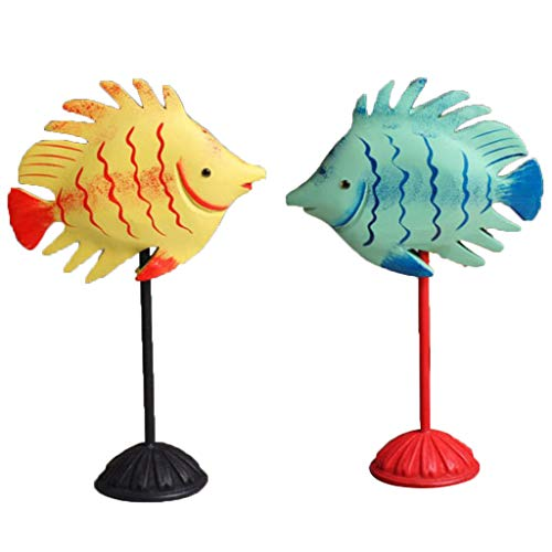 DYNWAVE Wooden Blue+ Yellow Fish Figurines Couple Statue Home Accessories Decoration with Standing Base