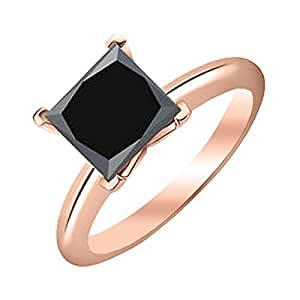 1/2 0.5 Carat 14K Rose Gold Princess Black Diamond Solitaire Ring (AAA Quality)