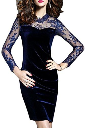 Midi Stylish Navy Mesh Velvet Lace Cruiize Bodycon Party Dresses Women's HqwpfBn4v