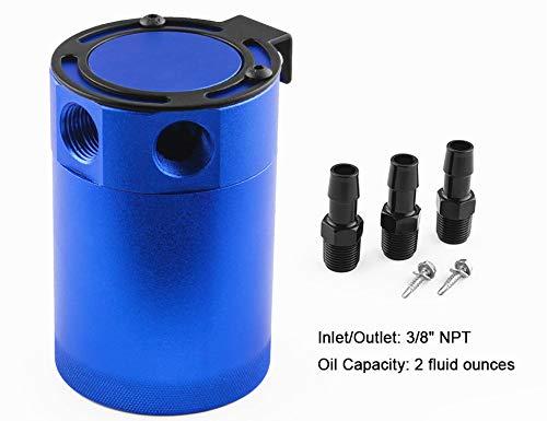 Anngo Compact Baffled - Depósito de Aceite Universal de Aluminio con 3 Puertos, Color Azul